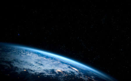 Planet earth globe view from space showing realistic earth surface and world map as in outer space point of view . Stock Photo