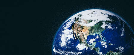 Planet earth globe view from space showing realistic earth surface and world map as in outer space point of view . Reklamní fotografie
