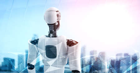 3D illustration robot humanoid looking forward against cityscape skyline . Concept of leadership, idea and vision for futuristic development of artificial intelligence AI .