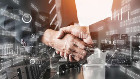 Imaginative visual business handshake with computer graphic of investment data . Futuristic business marketing and partnership deals . 3D Rendering .
