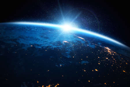 Planet earth globe view from space showing realistic earth surface and world map as in outer space point of view .