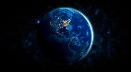 Planet earth globe view from space showing realistic earth surface and world map as in outer space point of view.