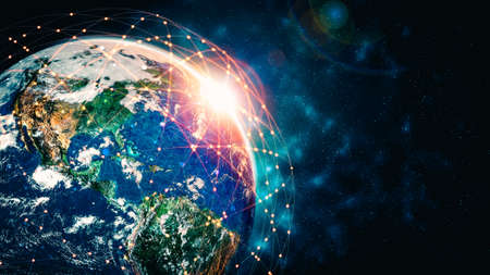 Global network connection covering the earth with lines of innovative perception . Concept of 5G wireless digital connection and future in the internet of things . 3D illustration . Stock Photo