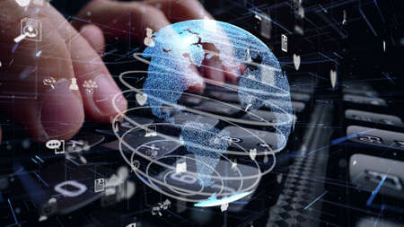 Man working on computer keyboard with graphic of internet network modernization showing concept of 5G wireless connection and social media . Imagens