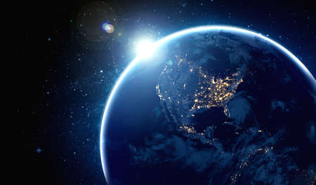 Planet earth globe view from space showing realistic earth surface and world map as in outer space point of view