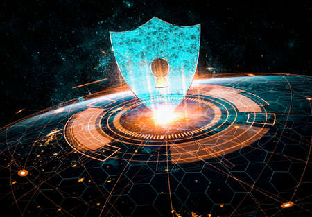 Cyber security technology and online data protection in innovative perception . Concept of technology for security of data storage used by global business network server to secure cyber information .