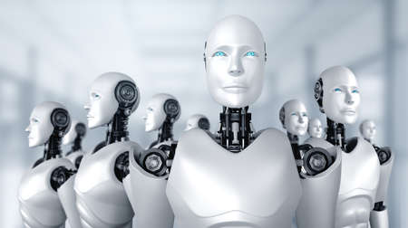 3D illustration of robot humanoid group in concept of future artificial intelligence and 4th fourth industrial revolution . Standard-Bild