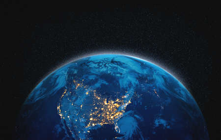 Planet earth globe view from space showing realistic earth surface and world map as in outer space point of view Reklamní fotografie