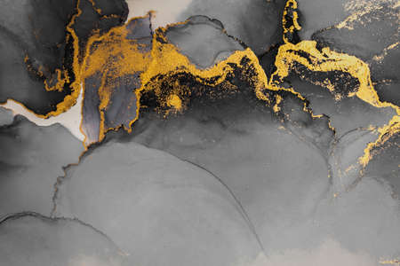 Dark gold abstract background of marble liquid ink art painting on paper . Image of original artwork watercolor alcohol ink paint on high quality paper texture .