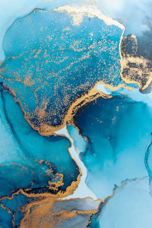 Luxury blue abstract background of marble liquid ink art painting on paper . Image of original artwork watercolor alcohol ink paint on high quality paper texture .