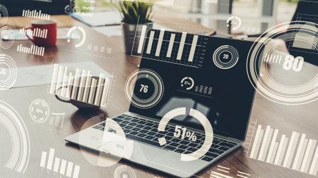 Business visual data analyzing technology by creative computer software 免版税图像