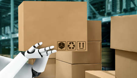 Innovative industry robot working in warehouse for human labor replacement . Concept of artificial intelligence for industrial revolution and automation manufacturing process .