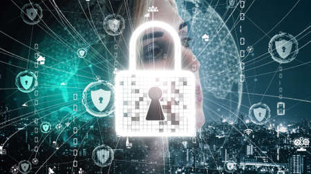 Cyber Security and Digital Data Protection conceptual . Graphic interface showing secure firewall technology for online data access defense against hacker, virus and insecure information for privacy. 免版税图像