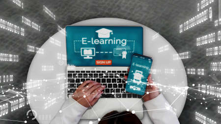 E-learning and Online Education for Student and University conceptual . Graphic interface showing technology of digital training course for people to do remote learning from anywhere.