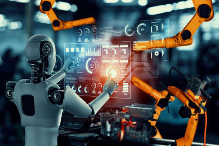 Mechanized industry robot and robotic arms for assembly in factory production . Concept of artificial intelligence for industrial revolution and automation manufacturing process .