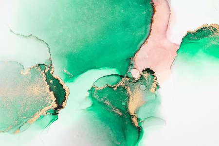 Green gold abstract background of marble liquid ink art painting on paper . Image of original artwork watercolor alcohol ink paint on high quality paper texture .
