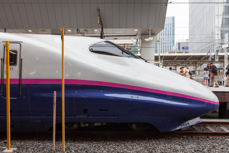 hokuriku: Tokyo,Japan - April 1,2015 : The E2 Series bullet train for Hokuriku Shinkansen at Tokyo station.