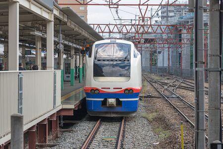treno espresso: NIIGATA,JAPAN - APRIL 15,2016 : The Limited express train Shirayuki at Niigata station. This train use E653 electric train operated by JR East in Joetsu Myoko - Niigata route.