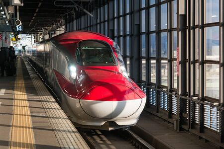IWATE,JAPAN-April 19,2016:The Red E6 Series bullet(High-speed,Shinkansen) train at Morioka station.This train service as