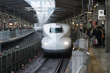sanyo: TOKYO - APRIL 7,2016 : The N700A Series bullet (High-speed or Shinkansen) train. This Shinkansen train services as Nozomi(Hope) for Tokaido and Sanyo Shinkansen (Tokyo - Hakata route). Editorial
