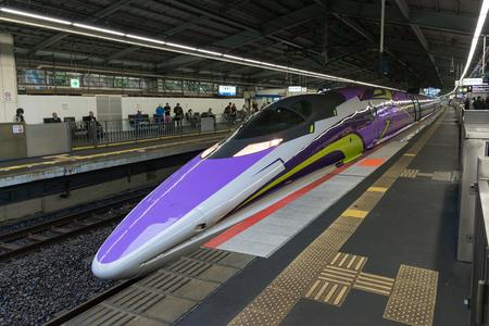 sanyo: HYOGO,JAPAN-APRIL 7,2016:500 TYPE EVA, the spaceship-themed Shinkansen. This is special Shinkansen train to celebrate 40th anniversary of Sanyo Shinkansen and 20th anniversary of Evangelion TV series. Editorial