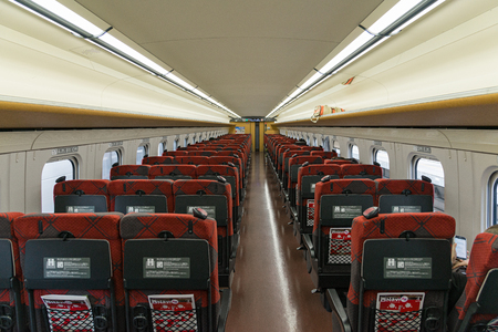 hokuriku: NAGANO,JAPAN-APRIL 8,2016: Ordinary seats of the E7 Series bullet (High-speed or Shinkansen) train.E7 Series train services as Kagayaki (Shine) for Hokuriku Shinkansen line (Tokyo - Kanazawa route).