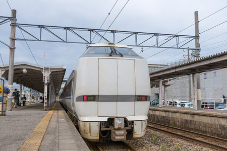 treno espresso: ISHIKAWA,JAPAN - APRIL 8,2016 : The limited express train Noto Kagaribi at Nanao station. This train use 683 Series train operated by JR West in Kanazawa-Wakura onsen route.