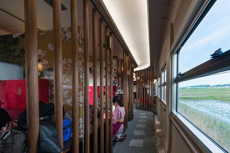 ISHIKAWA,JAPAN - APRIL 8,2016 : Interior of sightseeing train