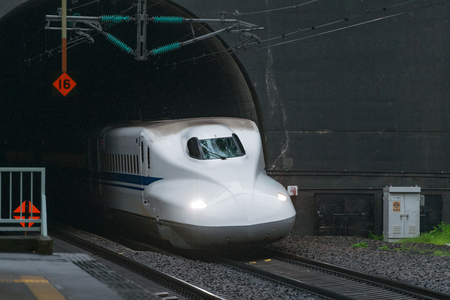 sanyo: TOKYO-APRIL 7,2016:The N700A Series bullet(High-speed or Shinkansen) train run through tunnel. This Shinkansen train services as Nozomi(Hope) for Tokaido and Sanyo Shinkansen (Tokyo - Hakata route). Editorial