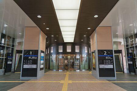 hokuriku: TOYAMA,JAPAN-APRIL 9,2016 : Interior of Shin Takaoka station. This station operated by JR West for Hokuriku Shinkansen (Bullet train or High speed train) line that opened in March 2015.