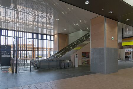 shin: TOYAMA,JAPAN-APRIL 9,2016 : Interior of Shin Takaoka station. This station operated by JR West for Hokuriku Shinkansen (Bullet train or High speed train) line that opened in March 2015.