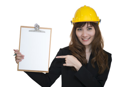 engineering clipboard: Female engineering with hold clipboard paper report document a white background Stock Photo