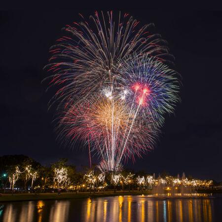 next year: New Year celebration fireworks Stock Photo