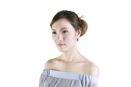 blackhead: beauty concept skin aging. a beauty girl on the white background