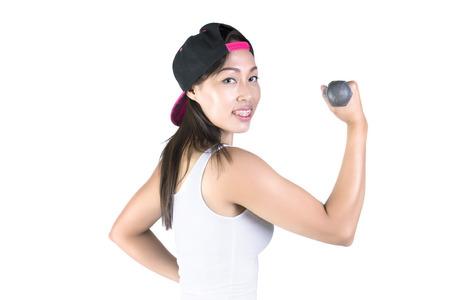 against white: Fitness female posing against white