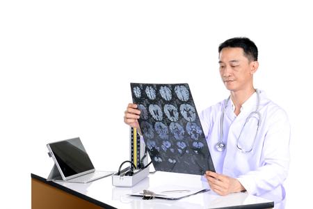 doctor examine: Doctor examine patient data in the office.