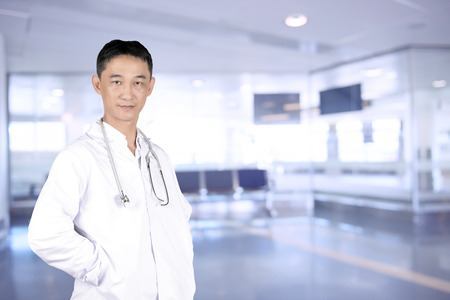 nurse station: Asian young doctor in a hospital.