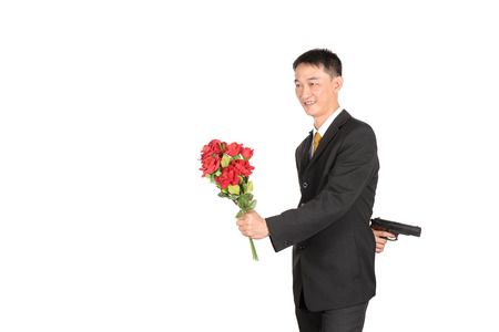 heartbreak issues: Businessman fail in work and love. on white background
