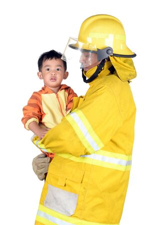 fireman: Firefighters helping people and animals. on white background. Stock Photo