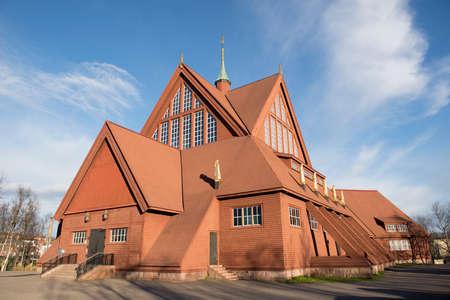 kiruna: Church in Kiruna, Sweden, during a late summer evening.