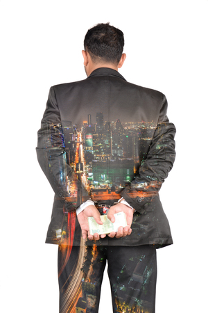 Embezzlement causing damage to the country. Double exposure image
