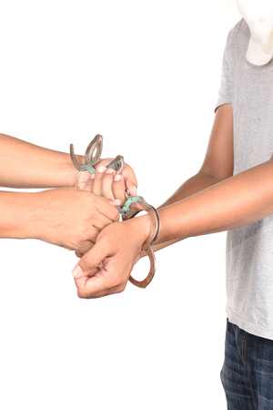 being arrested: Unlock handcuffs after being arrested.
