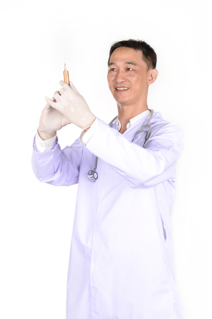 nurse station: Doctor with a syringe on a white background.