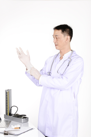 examination room: Doctor checking patient in the examination room.