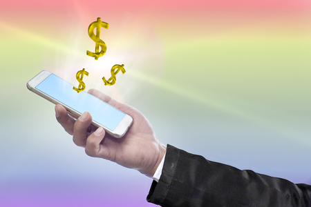 financials: Business and financials quick and easy with a smartphone. Stock Photo