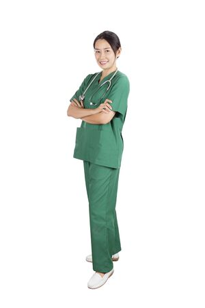 committed: Beautiful female doctor with a smile committed on white background.