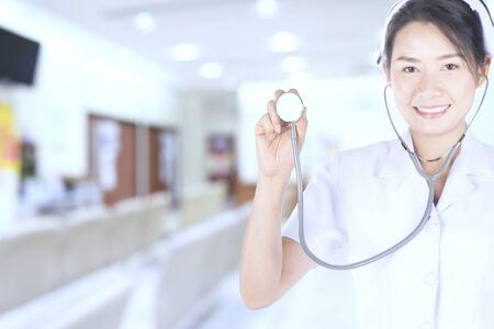 stetoscope: Nurses check the heartbeat sound with stetoscope