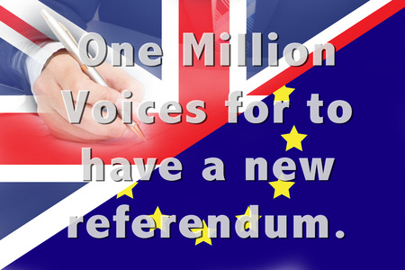 voices: One Million Voices for to have a new referendum. Stock Photo