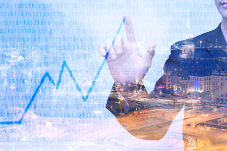 Young businessman writing graph of imagination, Double exposure image.