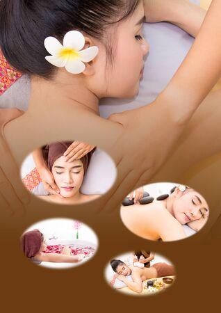 poner atencion: El spa masaje facial y corporal. Las mujeres prestan atención a la salud y la belleza.